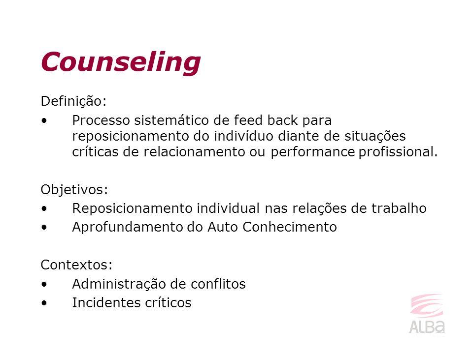 Definição: Processo sistemático de feed back para reposicionamento do indivíduo diante de situações críticas de relacionamento ou performance profissi