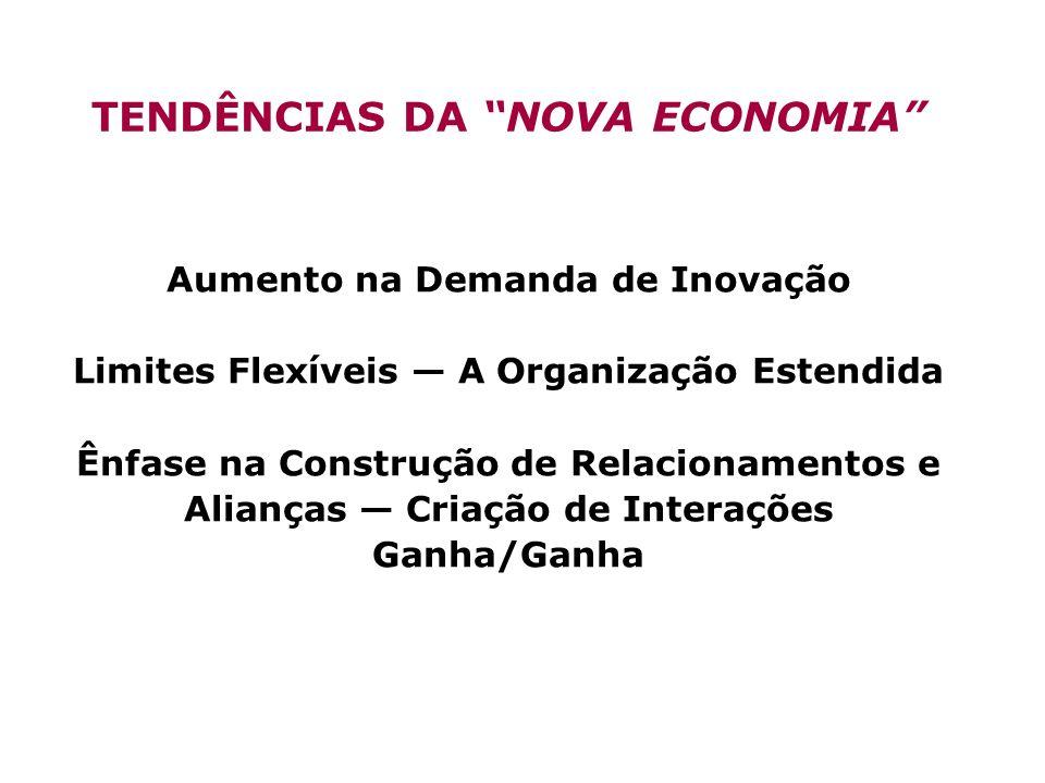 TENDÊNCIAS DA NOVA ECONOMIA Aumento na Demanda de Inovação Limites Flexíveis A Organização Estendida Ênfase na Construção de Relacionamentos e Aliança