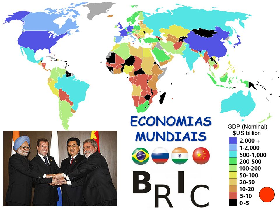 Lista do Banco Mundial (Ano de 2005) Banco Mundial 2005 ColocaçãoPaís PIB (PPC) em milhões de dólares Mundo55.938.191 União Européia12.020.939 1 Estados Unidos 11.651.110 2 China ChinaChina 7.642.283 3 Japão 3.737.289 4 Índia ÍndiaÍndia 3.389.670 5 Alemanha 2.335.494 6 Reino Unido 1.845.169 7 Brasil 1.803.000 8 França 1.769.171 9 Itália 1.622.425 10 Rússia RússiaRússia 1.424.418 11Espanha1.069.253 12México1.017.529 13Canadá999.608 14Coréia do Sul985.649 15Indonésia785.169
