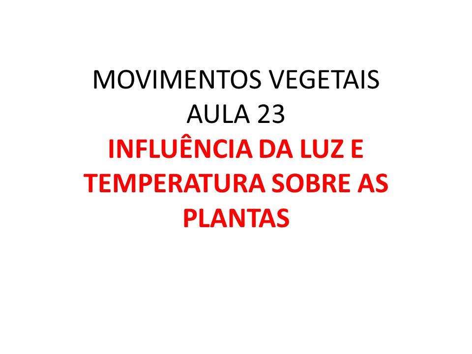 MOVIMENTOS VEGETAIS AULA 23 INFLUÊNCIA DA LUZ E TEMPERATURA SOBRE AS PLANTAS