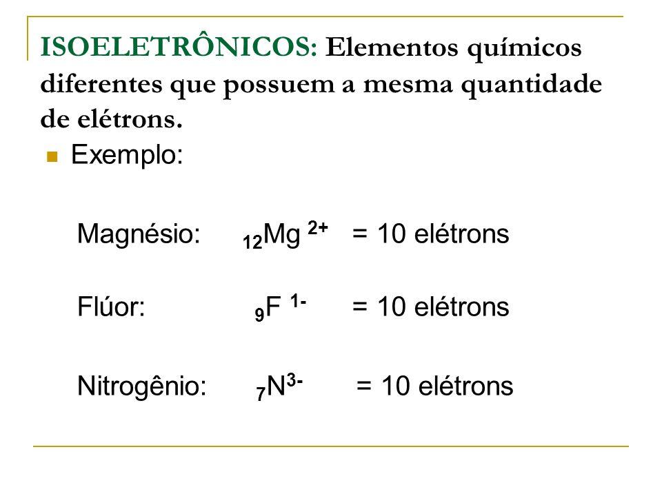 ISOELETRÔNICOS: Elementos químicos diferentes que possuem a mesma quantidade de elétrons. Exemplo: Magnésio: 12 Mg 2+ = 10 elétrons Flúor: 9 F 1- = 10