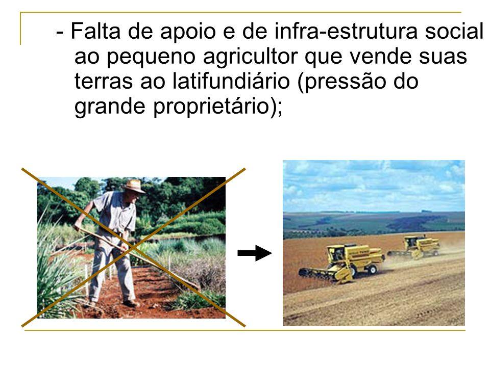 - Expansão da monocultura e da mecanização do campo;