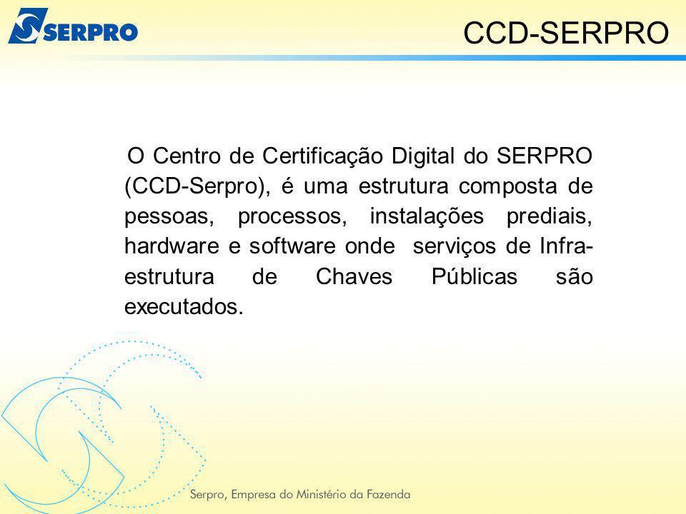 O Centro de Certificação Digital do SERPRO (CCD-Serpro), é uma estrutura composta de pessoas, processos, instalações prediais, hardware e software ond