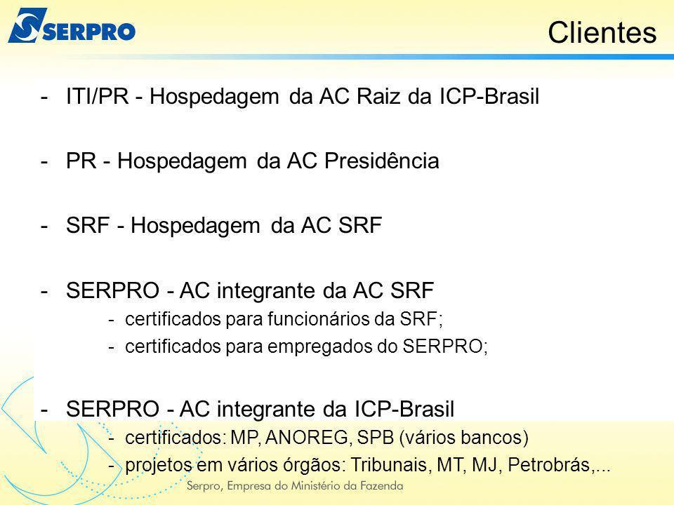 Clientes -ITI/PR - Hospedagem da AC Raiz da ICP-Brasil -PR - Hospedagem da AC Presidência -SRF - Hospedagem da AC SRF -SERPRO - AC integrante da AC SR