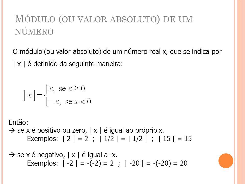 M ÓDULO ( OU VALOR ABSOLUTO ) DE UM NÚMERO O módulo (ou valor absoluto) de um número real x, que se indica por | x | é definido da seguinte maneira: E