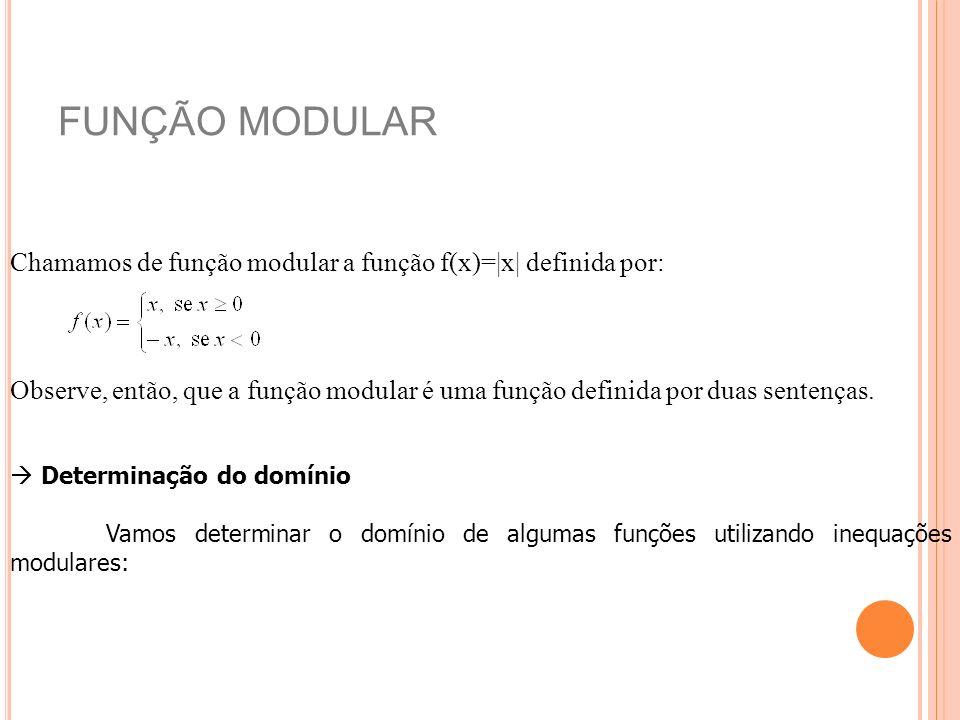 FUNÇÃO MODULAR Chamamos de função modular a função f(x)=|x| definida por: Observe, então, que a função modular é uma função definida por duas sentença