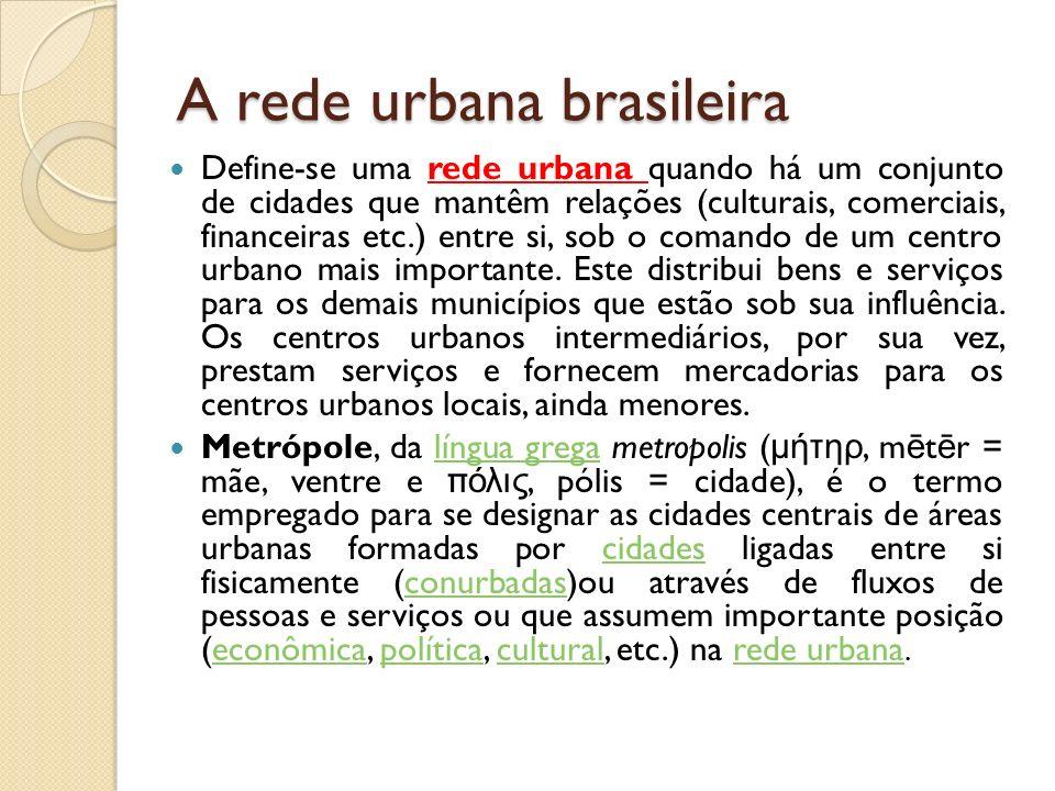 A rede urbana brasileira Define-se uma rede urbana quando há um conjunto de cidades que mantêm relações (culturais, comerciais, financeiras etc.) entr