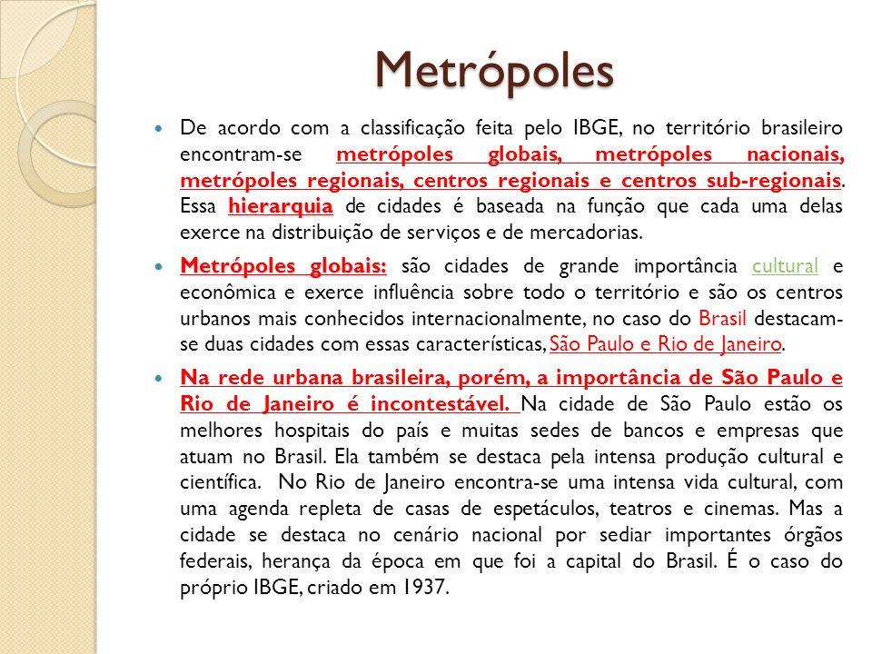 Metrópoles hierarquia De acordo com a classificação feita pelo IBGE, no território brasileiro encontram-se metrópoles globais, metrópoles nacionais, m