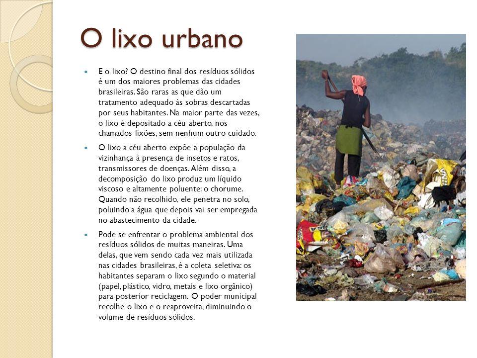 O lixo urbano E o lixo? O destino final dos resíduos sólidos é um dos maiores problemas das cidades brasileiras. São raras as que dão um tratamento ad