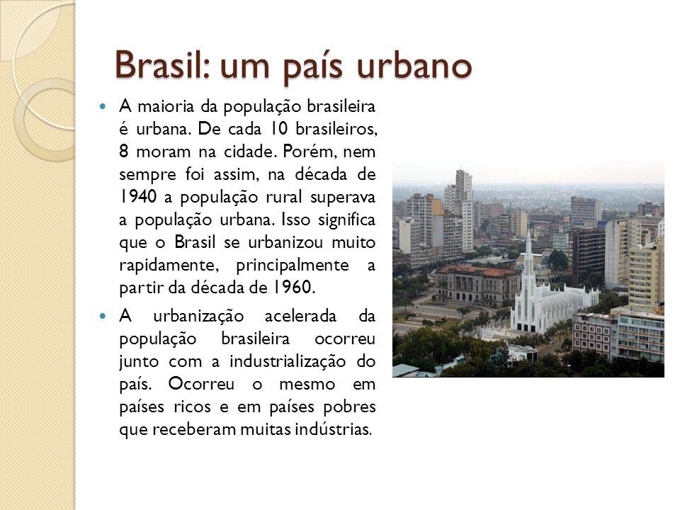 Brasil: um país urbano A maioria da população brasileira é urbana. De cada 10 brasileiros, 8 moram na cidade. Porém, nem sempre foi assim, na década d
