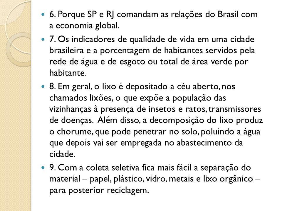 6. Porque SP e RJ comandam as relações do Brasil com a economia global. 7. Os indicadores de qualidade de vida em uma cidade brasileira e a porcentage