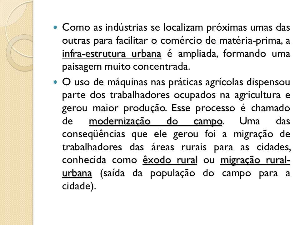 infra-estrutura urbana Como as indústrias se localizam próximas umas das outras para facilitar o comércio de matéria-prima, a infra-estrutura urbana é