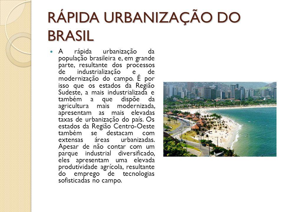 RÁPIDA URBANIZAÇÃO DO BRASIL A rápida urbanização da população brasileira e, em grande parte, resultante dos processos de industrialização e de modern