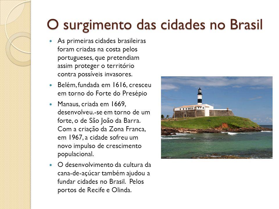 O surgimento das cidades no Brasil As primeiras cidades brasileiras foram criadas na costa pelos portugueses, que pretendiam assim proteger o territór