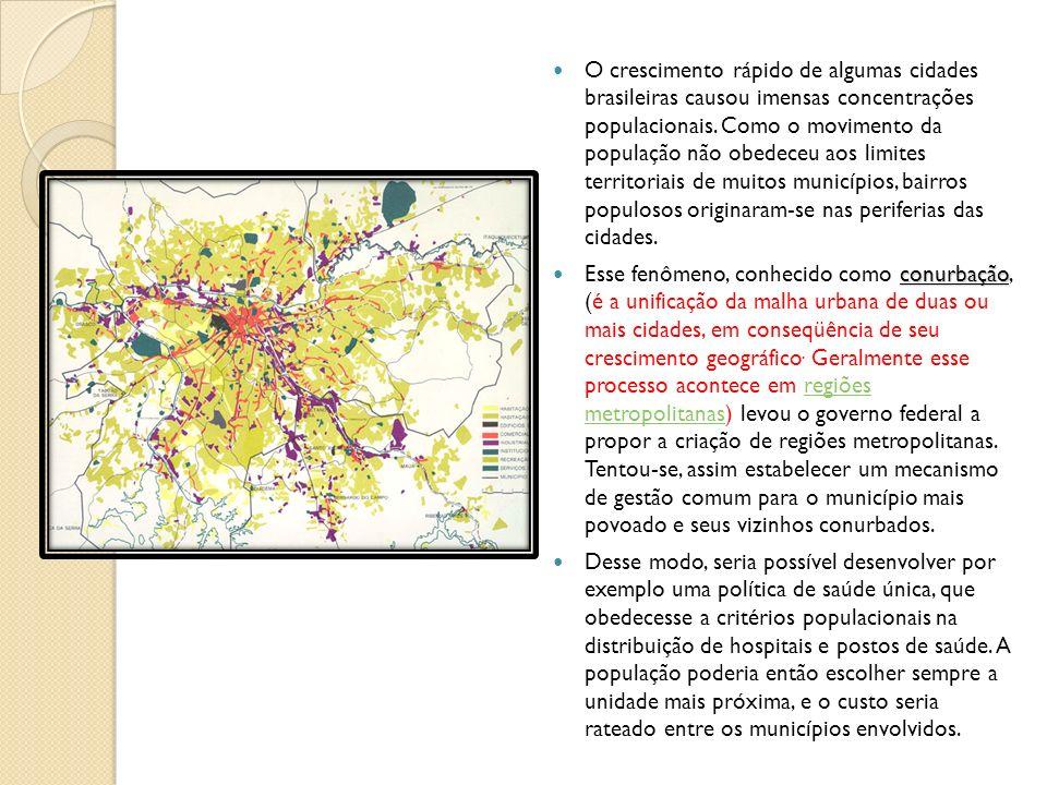 O crescimento rápido de algumas cidades brasileiras causou imensas concentrações populacionais. Como o movimento da população não obedeceu aos limites