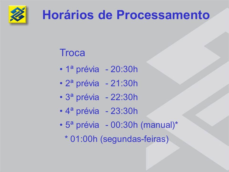 Troca 1ª prévia - 20:30h 2ª prévia - 21:30h 3ª prévia - 22:30h 4ª prévia - 23:30h 5ª prévia - 00:30h (manual)* * 01:00h (segundas-feiras) Horários de