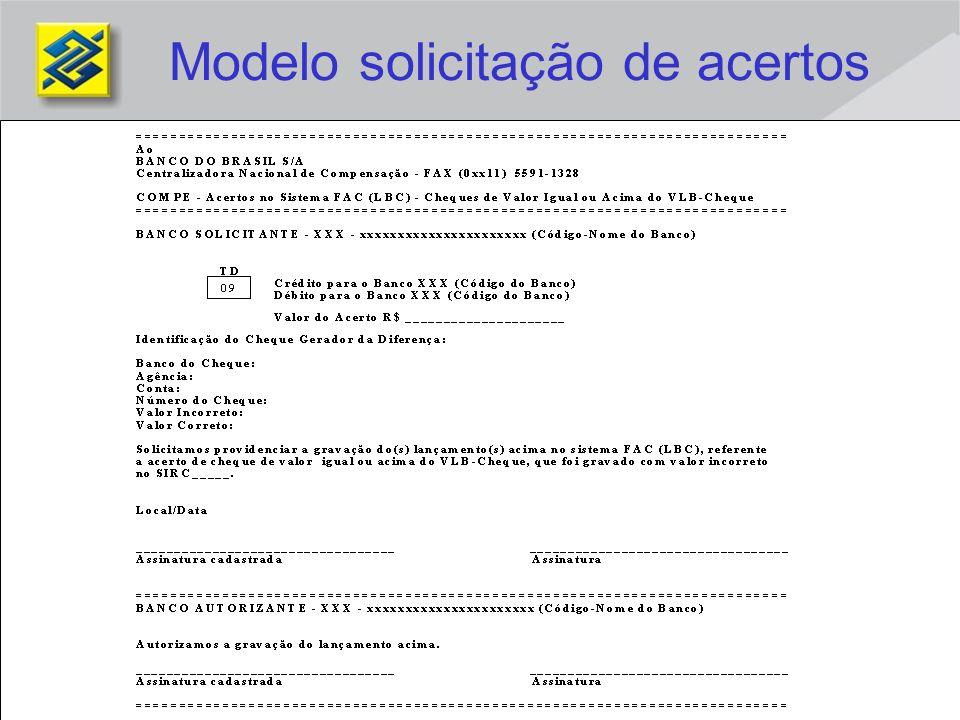 Modelo solicitação de acertos