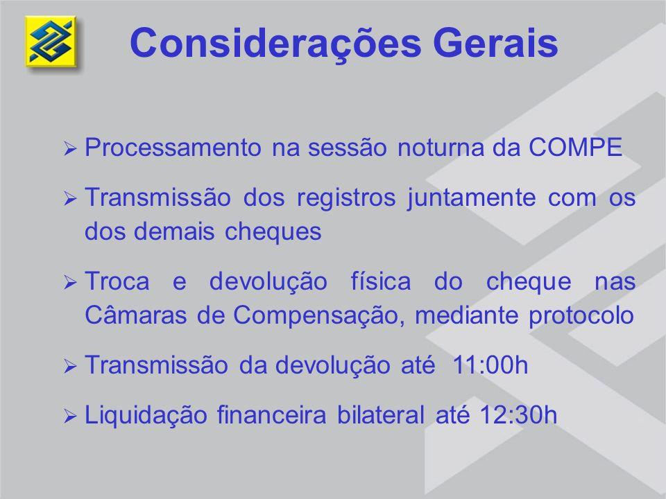 Processamento na sessão noturna da COMPE Transmissão dos registros juntamente com os dos demais cheques Troca e devolução física do cheque nas Câmaras