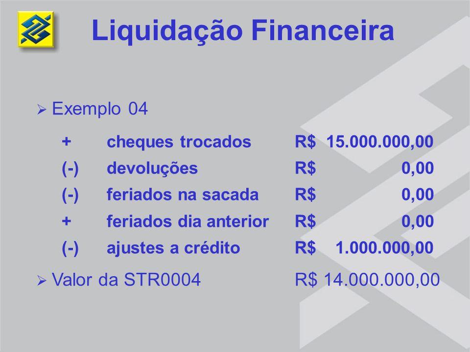 Liquidação Financeira Exemplo 04 + cheques trocados R$ 15.000.000,00 (-) devoluções R$ 0,00 (-) feriados na sacada R$ 0,00 + feriados dia anterior R$