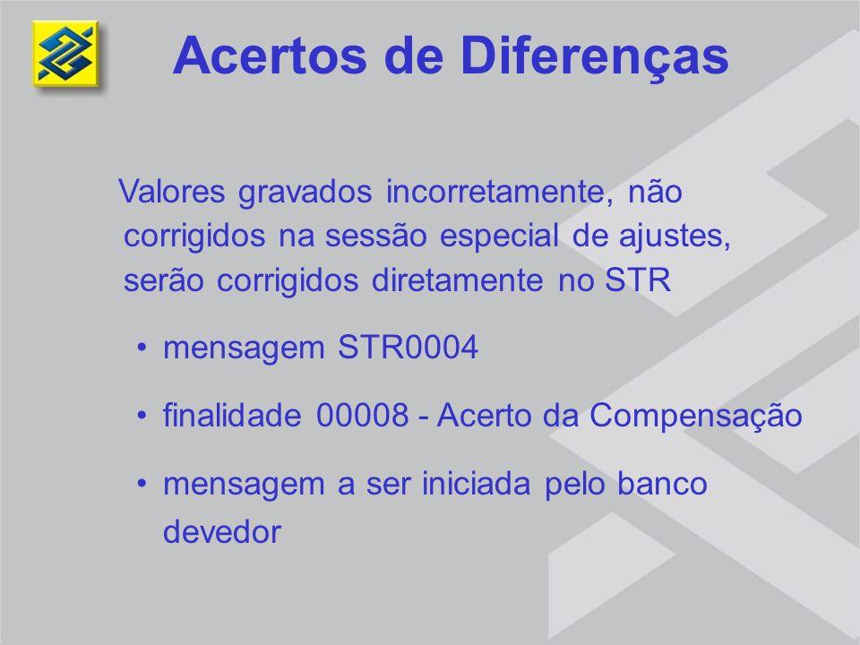 Valores gravados incorretamente, não corrigidos na sessão especial de ajustes, serão corrigidos diretamente no STR mensagem STR0004 finalidade 00008 -