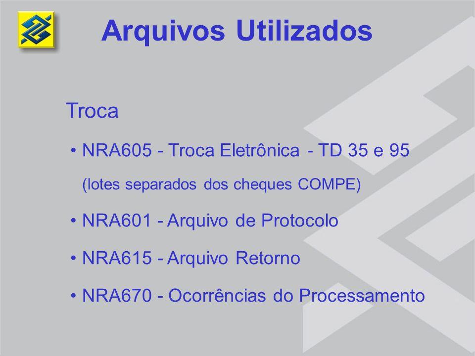 Arquivos Utilizados Troca NRA605 - Troca Eletrônica - TD 35 e 95 (lotes separados dos cheques COMPE) NRA601 - Arquivo de Protocolo NRA615 - Arquivo Re