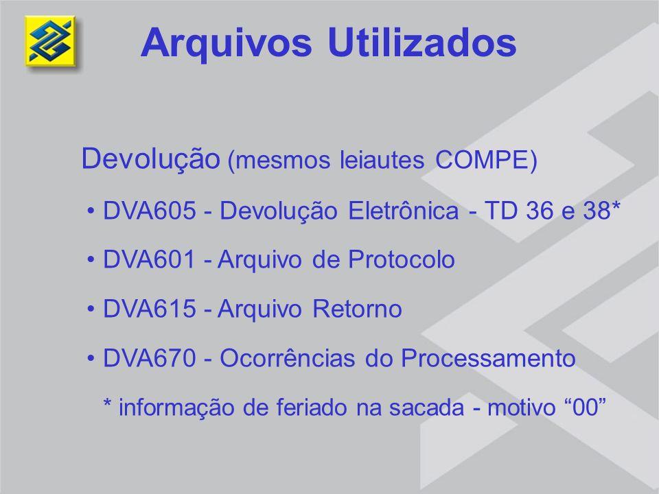 Arquivos Utilizados Devolução (mesmos leiautes COMPE) DVA605 - Devolução Eletrônica - TD 36 e 38* DVA601 - Arquivo de Protocolo DVA615 - Arquivo Retor