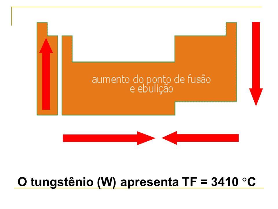 O tungstênio (W) apresenta TF = 3410 C