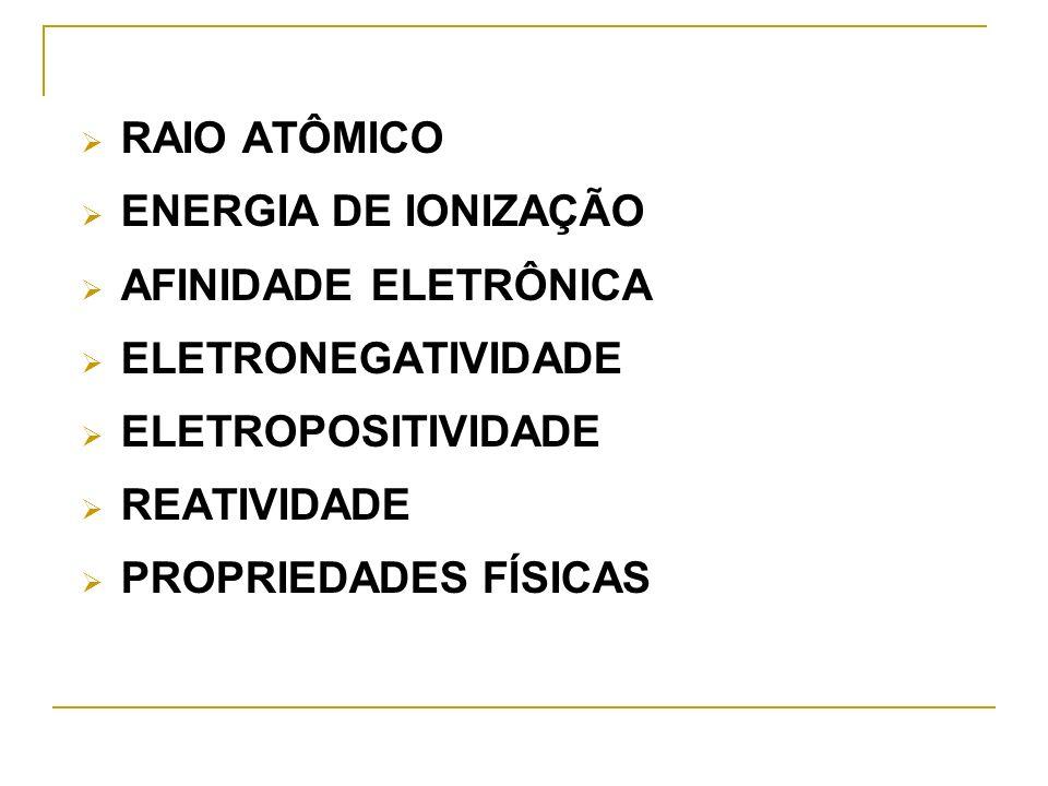 RAIO ATÔMICO ENERGIA DE IONIZAÇÃO AFINIDADE ELETRÔNICA ELETRONEGATIVIDADE ELETROPOSITIVIDADE REATIVIDADE PROPRIEDADES FÍSICAS