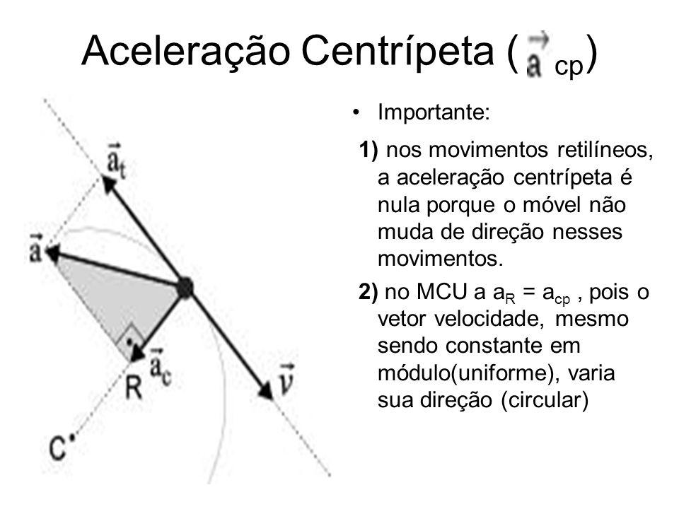 Aceleração Centrípeta ( cp ) Importante: 1) nos movimentos retilíneos, a aceleração centrípeta é nula porque o móvel não muda de direção nesses movime