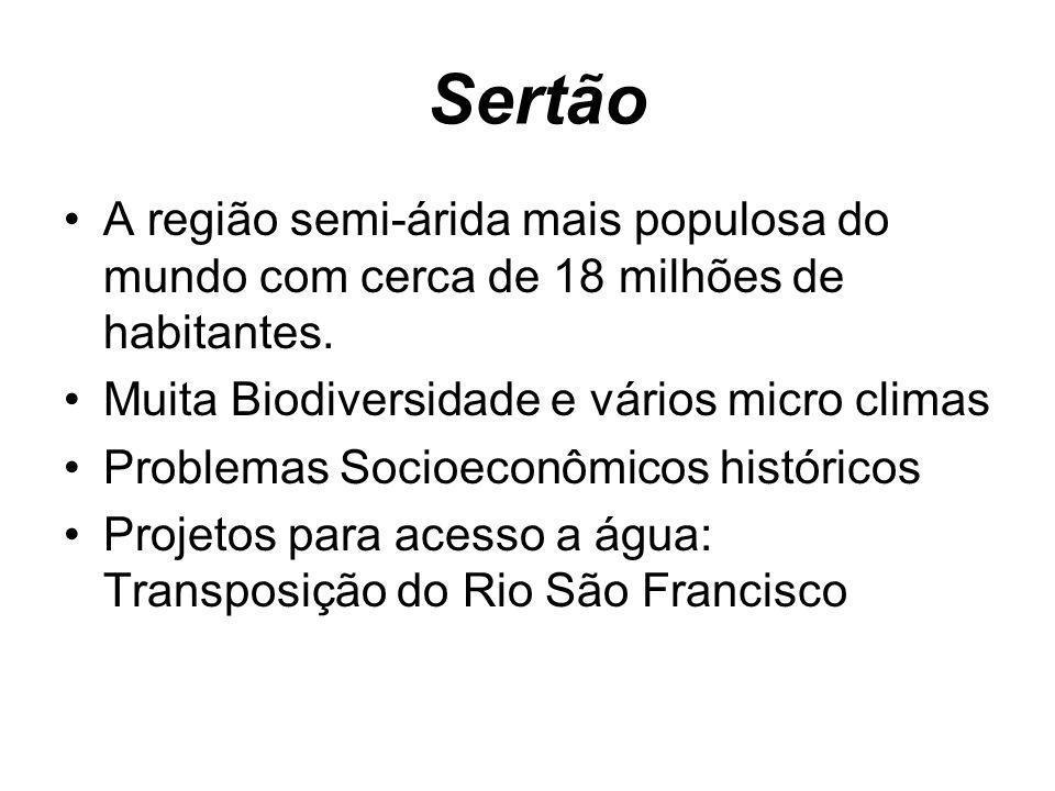 Sertão A região semi-árida mais populosa do mundo com cerca de 18 milhões de habitantes. Muita Biodiversidade e vários micro climas Problemas Socioeco