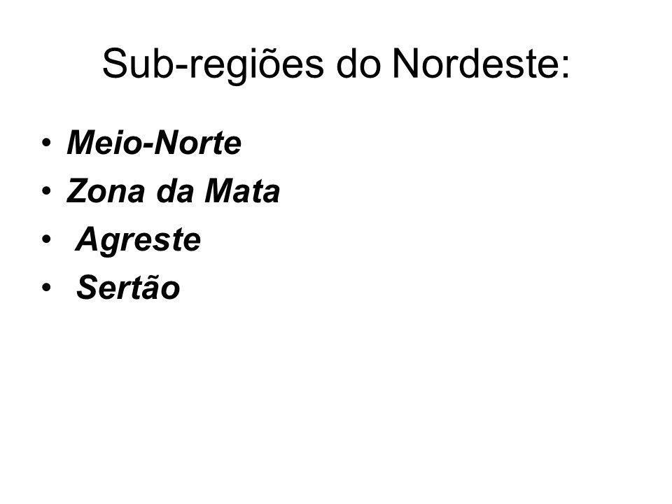 Sub-regiões do Nordeste: Meio-Norte Zona da Mata Agreste Sertão