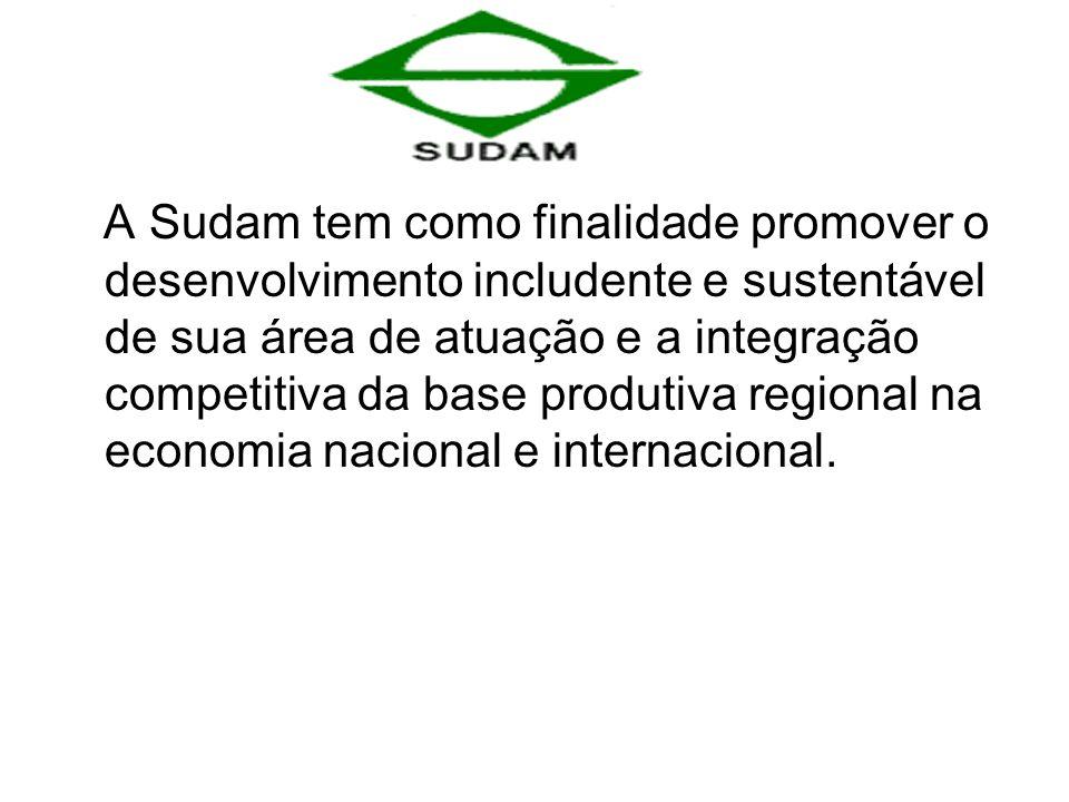 A Sudam tem como finalidade promover o desenvolvimento includente e sustentável de sua área de atuação e a integração competitiva da base produtiva regional na economia nacional e internacional.