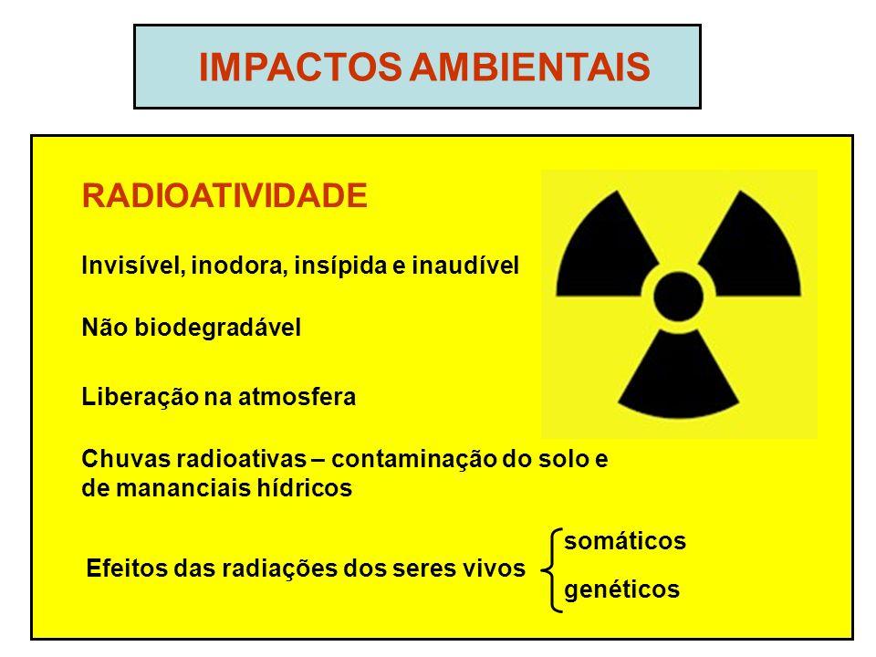 IMPACTOS AMBIENTAIS RADIOATIVIDADE Não biodegradável Liberação na atmosfera Chuvas radioativas – contaminação do solo e de mananciais hídricos Invisível, inodora, insípida e inaudível Efeitos das radiações dos seres vivos somáticos genéticos
