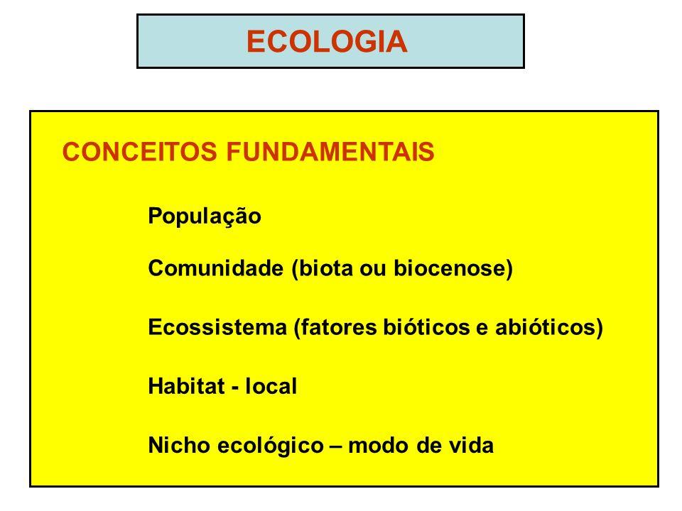 ECOLOGIA CONCEITOS FUNDAMENTAIS População Comunidade (biota ou biocenose) Ecossistema (fatores bióticos e abióticos) Habitat - local Nicho ecológico – modo de vida