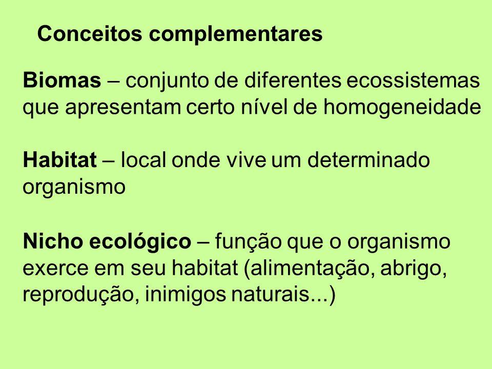 Conceitos complementares Habitat – local onde vive um determinado organismo Nicho ecológico – função que o organismo exerce em seu habitat (alimentaçã