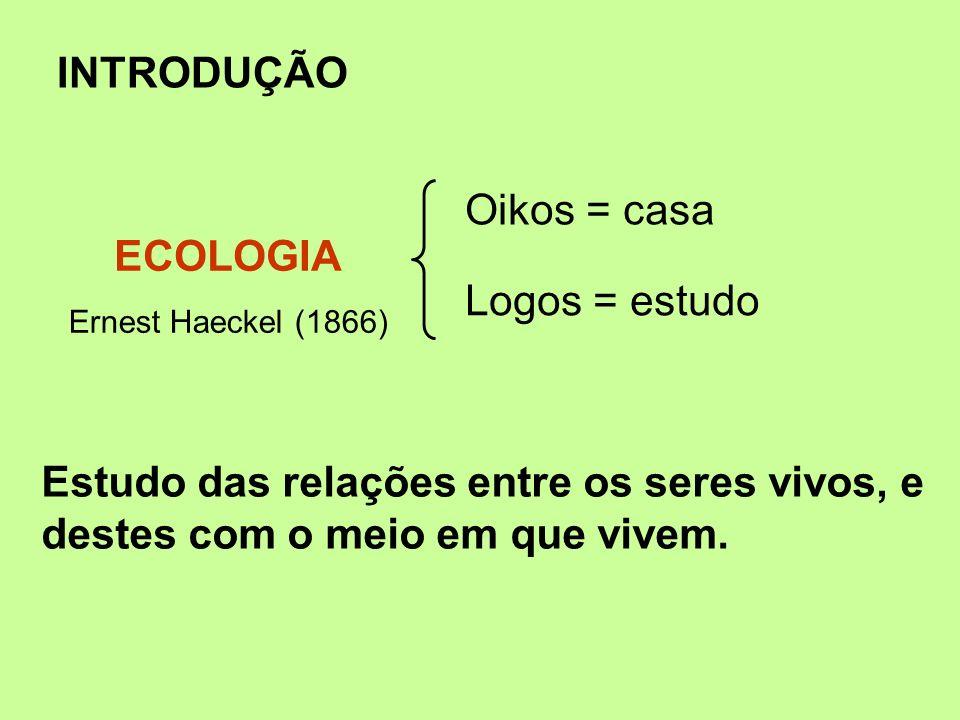 INTRODUÇÃO Estudo das relações entre os seres vivos, e destes com o meio em que vivem. Oikos = casa Logos = estudo ECOLOGIA Ernest Haeckel (1866)