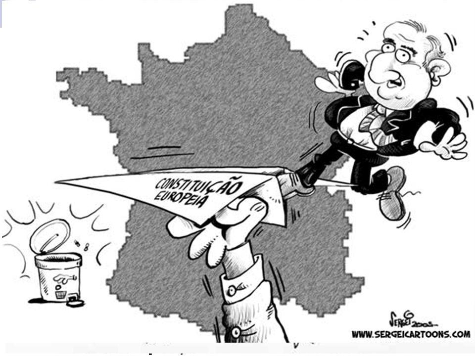 Crise política na Europa. 29/05/2005: em plebiscito, 54,8% dos franceses disseram NÃO à constituição única, Em 01/06/2005 foi a vez de 61,6% dos holan