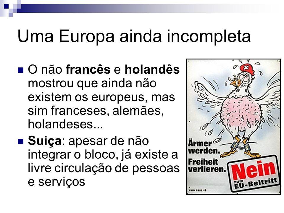 Uma Europa ainda incompleta O não francês e holandês mostrou que ainda não existem os europeus, mas sim franceses, alemães, holandeses... Suiça: apesa