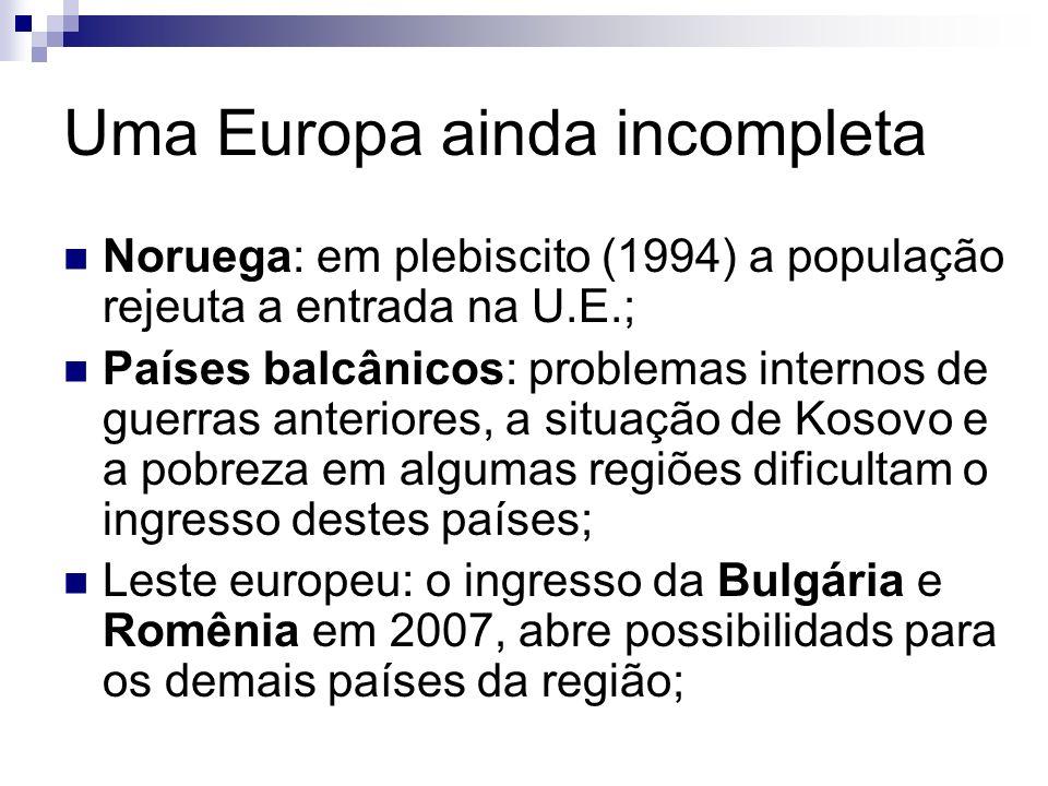 Uma Europa ainda incompleta Noruega: em plebiscito (1994) a população rejeuta a entrada na U.E.; Países balcânicos: problemas internos de guerras ante