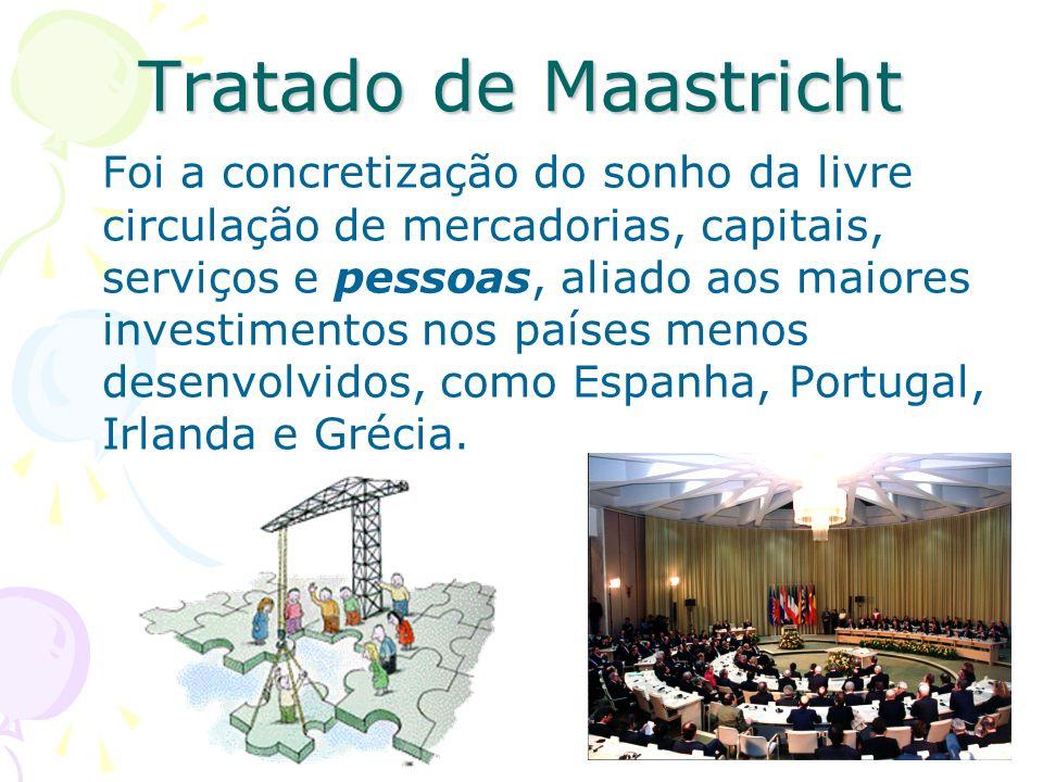 Tratado de Maastricht Foi a concretização do sonho da livre circulação de mercadorias, capitais, serviços e pessoas, aliado aos maiores investimentos