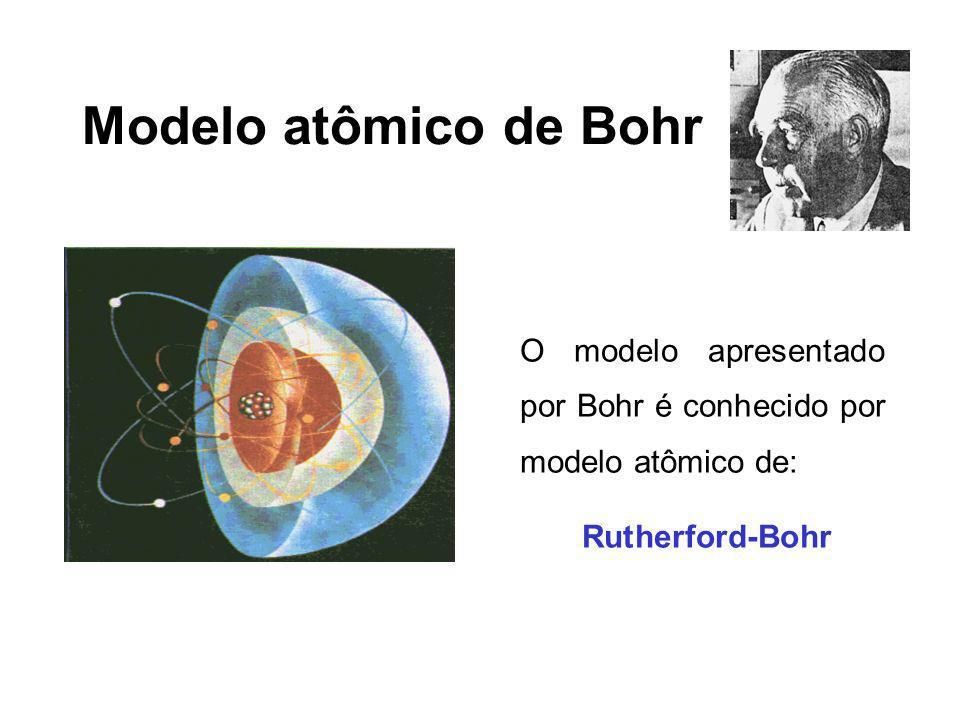 Modelo atômico de Bohr O modelo apresentado por Bohr é conhecido por modelo atômico de: Rutherford-Bohr