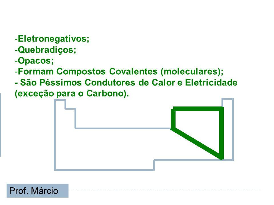 -Eletronegativos; -Quebradiços; -Opacos; -Formam Compostos Covalentes (moleculares); - São Péssimos Condutores de Calor e Eletricidade (exceção para o