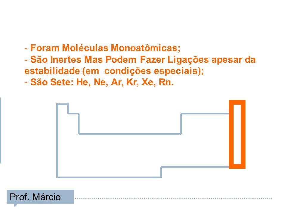 - Foram Moléculas Monoatômicas; - São Inertes Mas Podem Fazer Ligações apesar da estabilidade (em condições especiais); - São Sete: He, Ne, Ar, Kr, Xe