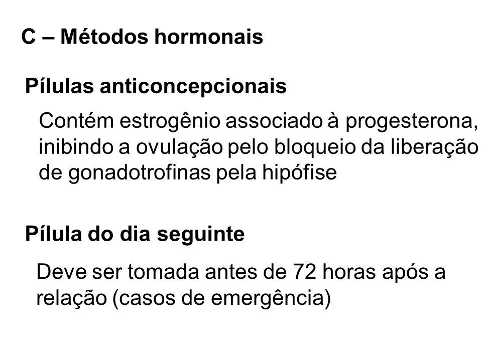 C – Métodos hormonais Pílulas anticoncepcionais Contém estrogênio associado à progesterona, inibindo a ovulação pelo bloqueio da liberação de gonadotr