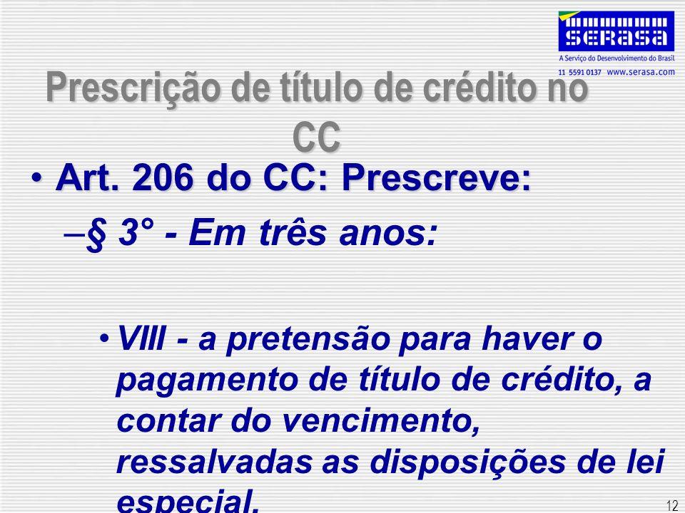 12 Prescrição de título de crédito no CC Art. 206 do CC: Prescreve:Art. 206 do CC: Prescreve: –§ 3° - Em três anos: VIII - a pretensão para haver o pa