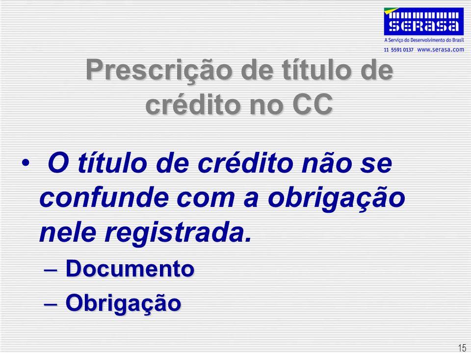 15 Prescrição de título de crédito no CC O título de crédito não se confunde com a obrigação nele registrada. – Documento – Obrigação