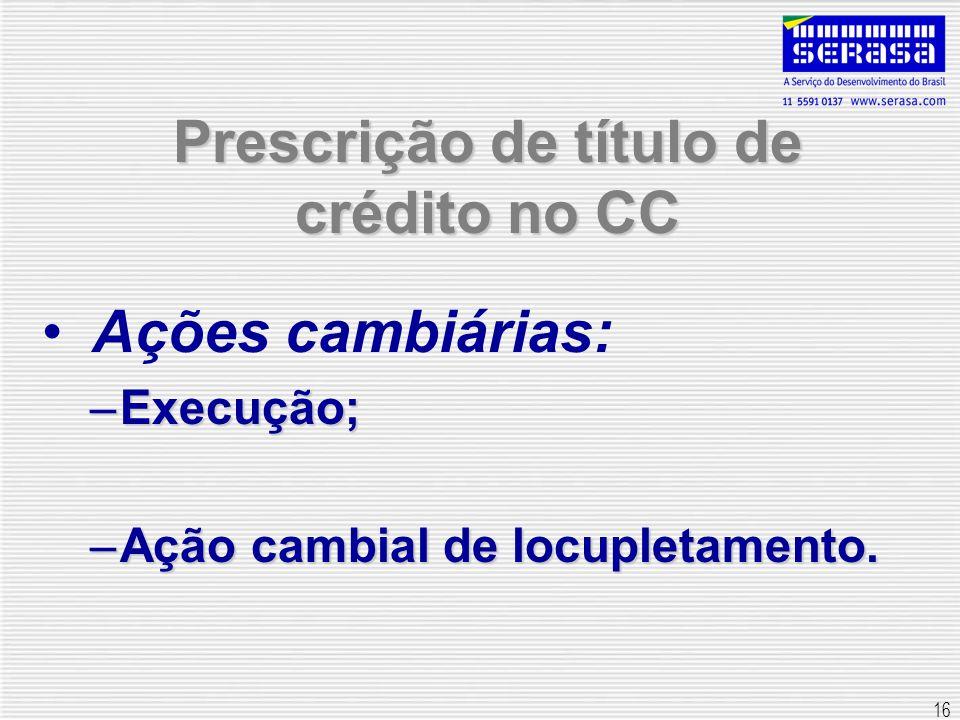16 Prescrição de título de crédito no CC Ações cambiárias: –Execução; –Ação cambial de locupletamento.