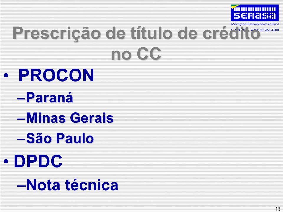 19 Prescrição de título de crédito no CC PROCON –Paraná –Minas Gerais –São Paulo DPDC –Nota técnica