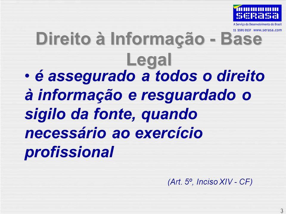 3 Direito à Informação - Base Legal é assegurado a todos o direito à informação e resguardado o sigilo da fonte, quando necessário ao exercício profis