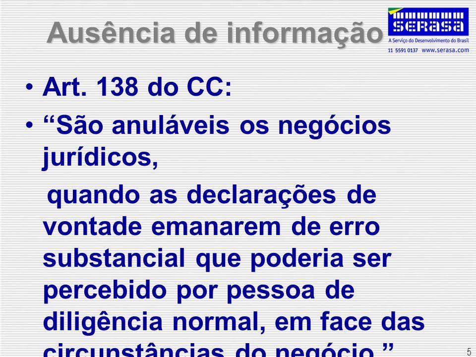 5 Ausência de informação Art. 138 do CC: São anuláveis os negócios jurídicos, quando as declarações de vontade emanarem de erro substancial que poderi